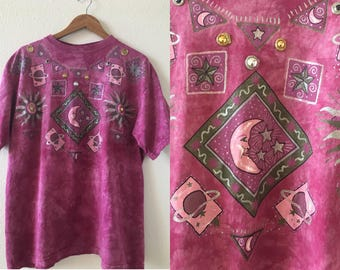 vintage 90's CELESTIAL TIE DYE t-shirt - medium