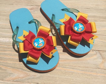 Phineas and Ferb Flip Flops, Phineas and Ferb Sandals, Phineas and Ferb Bow, Disney Flip Flops, Character Flip Flops