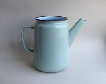 Vintage enamel kettle Retro enamel pitcher Coffee pot Milk pot Soviet vintage teapot Old enamel jug Light blue pot Soviet vintage cottage