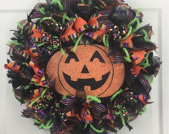 Halloween Wreath, Pumpkin Wreath, Deco Mesh Wreath for Front Door, Jack-o-lantern Wreath