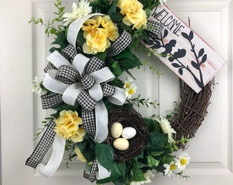 Spring Wreath for Front Door, Flower Wreath, Everyday Wreath, Welcome Wreath, Grapevine Wreath, Spring Wreath, Porch Decor, Outdoor Wreath