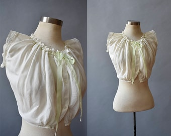 Victorian Corset Cover / White Cotton Crop Top / Corset Cover / Antique Blouse / Corset Cover XS