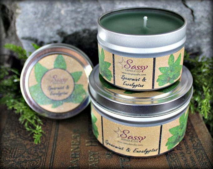 SPEARMINT & EUCALYPTUS | Candle Tin (4 or 8 oz) | Sassy Kandle Co.