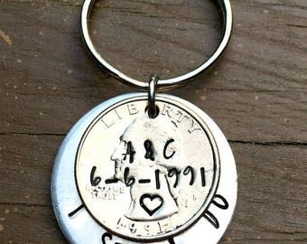 Husband Gifts, 25th Anniversary Gifts For Men, Quarter Jewelry, 25 Years, Personalized, Hand Stamped, Couples Key Chains,for Him, I still do