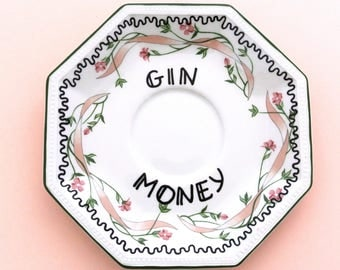 Gin Money Dish Spare Change Funny Adult Humor Alcohol Gag Gift Pretty Present for Her Pink Floral Flowers Coming of Age 18th 21st Birthday