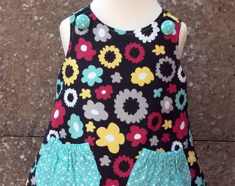 Size 12-18 months Reversible Pinafore Dress, Pinafore Dress, Reversible Dress, A-Line Dress, Girls Outfit (Poppy & Skylight) READY TO SHIP