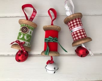 Christmas spool hanging decorations