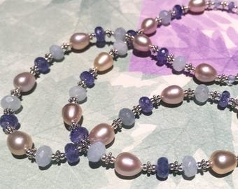 Natural Peach Pearls, Faceted Aquamarine, AAA tanzanite, Sterling Silver The Quiet Necklace Reprised  OR Bracelet