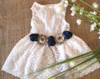Wedding dog dress | Flower Dog Dress | rustic wedding | Navy wedding | Dog wedding dress | wedding dog | Country wedding
