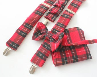 Suspender Set in classic red check. matching bow tie and handkerchief