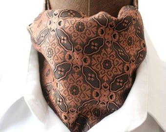 Ascot, rust-colored, woven silk, retro design