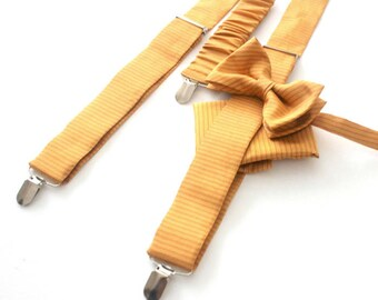 Suspender Set in gold matching bow tie and handkerchief