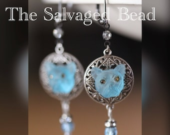 Vintage Blue Glass Bulldog Earrings, circa 1950's by The Salvaged Bead