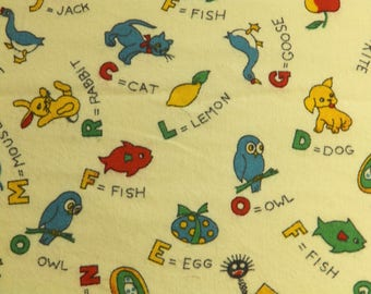 Superb vintage English alphabet fabric - unused