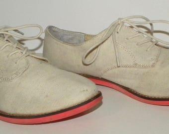 Vintage Bass CANVAS Saddle Shoes / Oxfords / Preppy GH Bass / Women size 8M