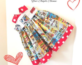 Girls Toddler Baby Girls Disney Mickey Mouse Mickey and Minnie Mouse Retro Vintage Comics Reverse Knot Dress Sizes NB to 6