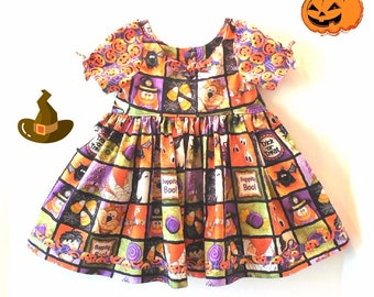 Halloween Dress, Baby Girl Halloween Dress, Girl Halloween Dress, Halloween Party Dress, Halloween Witches Boppity Boo Dress Size 6 Mo to 6