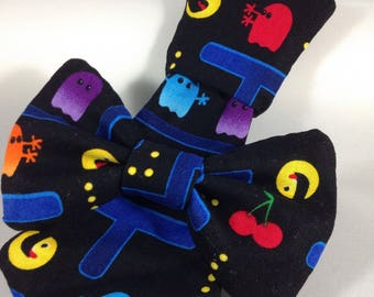 pacman classic gamer dog collar necktie or bow bow tie slide on removable handmade accessory multiple sizes made to orde