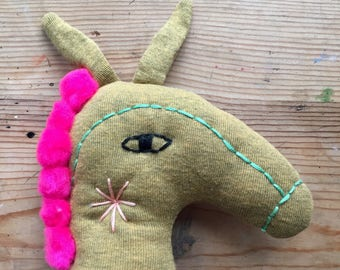Marcel - Donkey Stuffed Animal Doll - Soft Sculpture, Soft Toy, Cloth Horse, Cloth Doll, Rag Doll, Fabric Doll, Plushie, Softie Art Doll