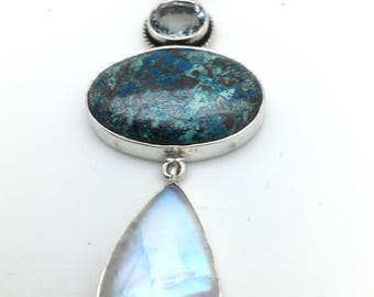 Chrysocolla , Moonstone and Blue Topaz Pendant