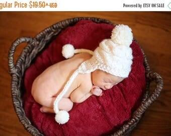 ON SALE 10% SALE Baby Boy Knit Hat , Baby Boy Winter Hat, Newborn Hat Baby Hat Earflap , Baby Boy Outfit , Photo Prop