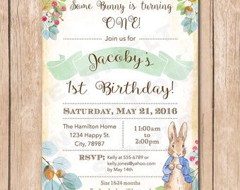 Peter Rabbit Birthday Invitation | Neutral, Vintage, Shabby Chic, Watercolor - 1.00 each printed or 12.00 DIY file