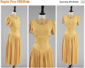ON SALE Vintage original 1940s 40s 11011 double elevens label sunshine yellow crepe evening dress UK 8 10 Us 4 6 S