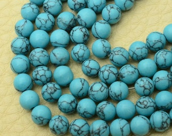 5mm  Blue Howlite Turquoise  5mm Round Beads    Full Strand