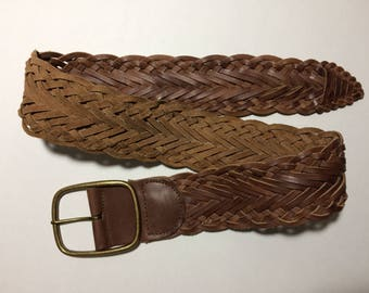"""Nine West 34"""" SM Leather Braided Wide Brown Belt 359584C Made in India"""