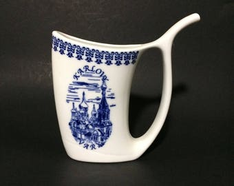 """5"""" Griffin Porcelain Sipping Sippy Cup Czech Republic Karlovy Vary Blue White Delft Style"""