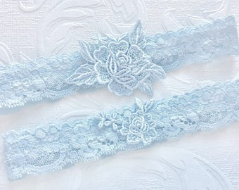 "Blue Lace Wedding Garter Set, Blue Garter Set, Blue Bridal Garters, Lace Garter, Toss Garter, Something Blue, Simple Lace Garters - ""Margot"""
