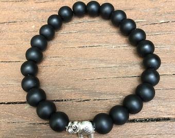 Black Agate Beaded Bracelet with Elephant Charm