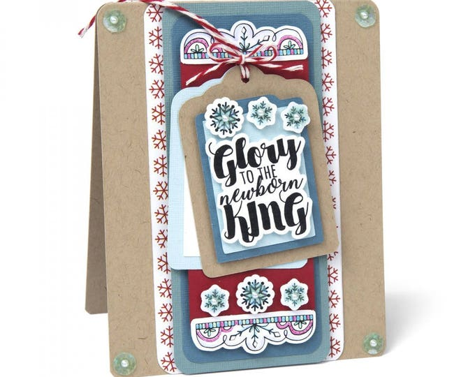 New! Sizzix Framelits Die Set 5PK w/Clear Stamps - Glory to the King 662464