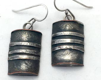 Mixed Metal Brutalist Earrings, Half Barrel Half Cylinder Dangle Distressed, Copper and Silver Signed Modernist Drop Hook Earrings, Modern