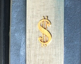 Dollar Sign Money Clip, Gold & Silver Tone Dollar Sign Money Clip, Vintage Men's Gold Tone Metal Money Holder Clasp