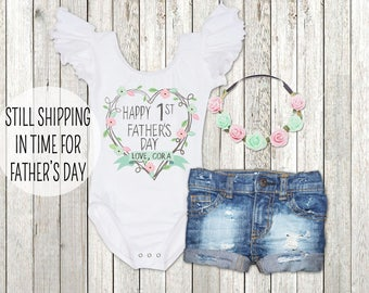 1st Father's Day Gift Personalized Father's Day Leotard, Baby Girl Father's Day Gift, Happy 1st Father's Day Bodysuit, New Dad Gift