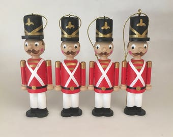 Set of 4 Wooden Toy Soldiers (large version) Christmas ornaments