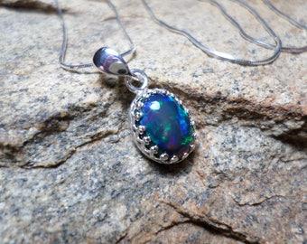 Smoked Black Opal Necklace,Black Opal Necklace, Fine Jewelry, October Birthstone,  Opal Necklace