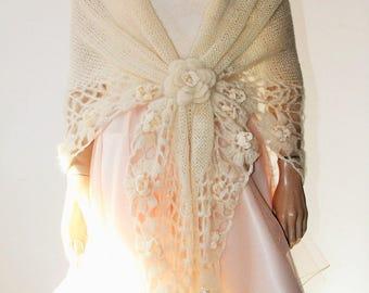 Hand Knitted Crochet Shawl Mohair/Triangle Shawl/ Handmade Shawl Ivory