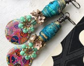 Peace earrings, tyvek beads, green turquoise vintage earrings, resin charms, boho earrings, gift for her, vintage flowers, colourful earring