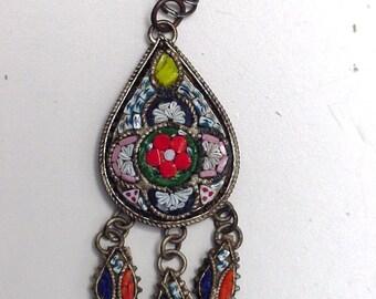 vintage micro mosaic pendant, Italy