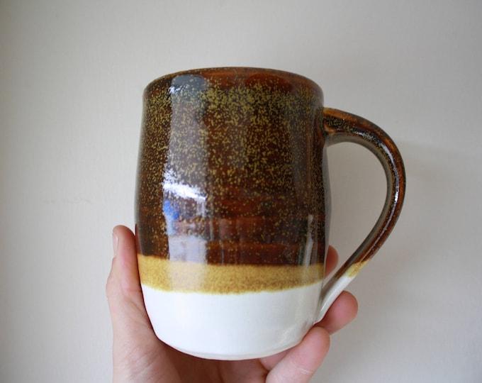 Coffee Mug - Porcelain - Brown and White - Ceramics & Pottery - KJ Pottery