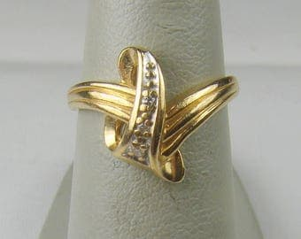 Vintage Artisan 10K Gold Diamond Accented By Pass Ring ~ Size 3 3/4 (PHoto#8)