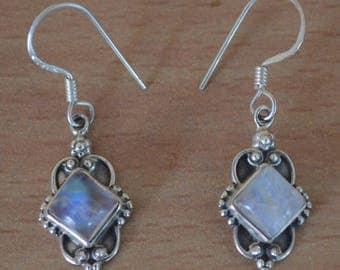 Moonstone Earrings,Sterling Silver 925,June Birthstone,Boho Earrings,Gorgeous Earrings,Simple,Everyday,Gift,Gemstone Jewelry,Natural Stone