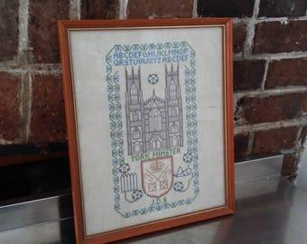 Vintage Sampler / Tapestry York Minster Historic Building