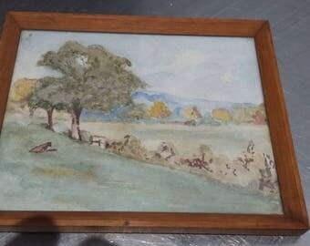 Vintage Original Watercolour. Countryside, trees