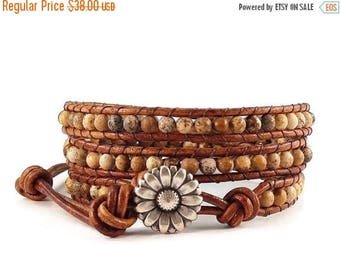 SALE Leather Wrap Bracelet Picture Jasper Gemstones Daisy Button Beaded Jewelry