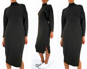 80s sweater dress, brown jumper dress, Rodier Paris, turtle neck, winter midi dress, lambswool, minimalist, maxi, Medium, UK 12