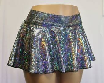 "Silver Black Holographic 12"" Hipster Skater Skirt. Silver and Black Hologram.   Great for Raves, Festivals, Roller Derby, and Running Skirt."