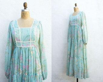 VINTAGE 1970s Delicate Floral Mint Tiered Maxi Dress | Gunne Sax Style Dress | Poet Sleeve Bib Front Dress | Pastel Prairie Mamma Maxi Dress